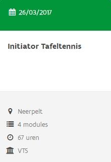 Cursus Initiator Tafeltennis 2016 Neerpelt