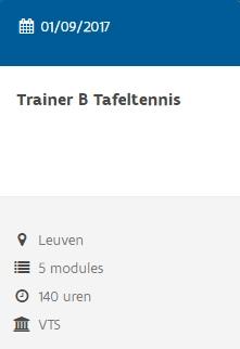 Cursus Trainer B Tafeltennis 2016 Leuven